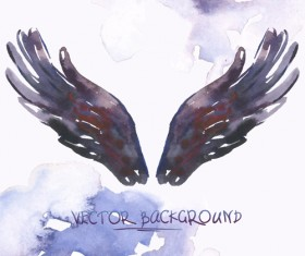 Classic watercolor wings vector background 01