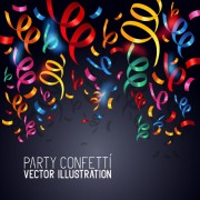 Link toColorful confetti and ribbon paper vector background