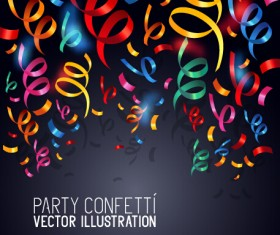 Colorful confetti and ribbon paper vector background