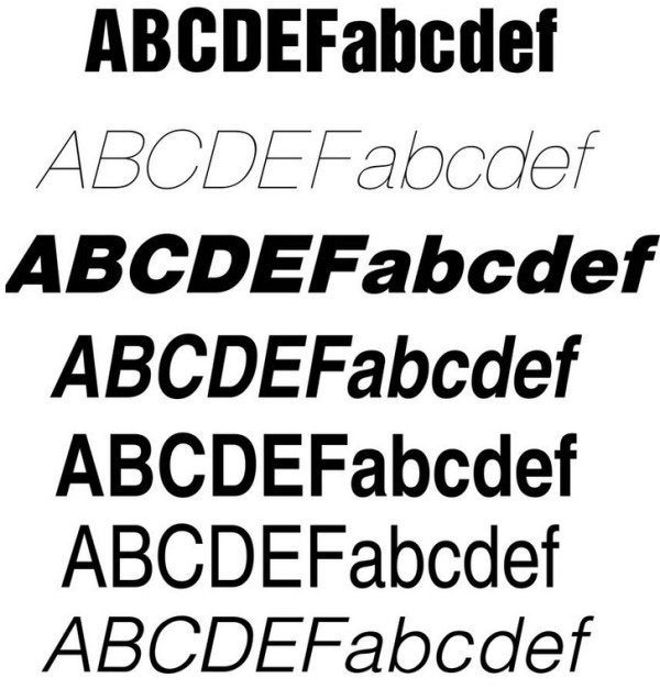 Creative helvetica fonts set
