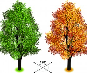Creative isometric trees design vector 03