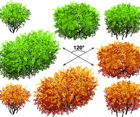 Creative isometric trees design vector 05