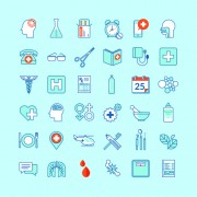 Creative medical outline icons vector set 01