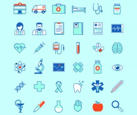 Creative medical outline icons vector set 02