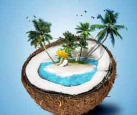 Creative tropical travel psd background