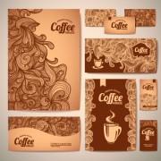 Delicate coffee cards design vector material 04