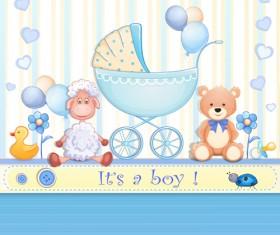 Elegant boy baby cards cute design vector