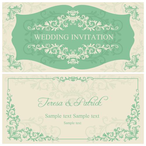 Elegant Floral Decorative Wedding Invitation Vector Cards