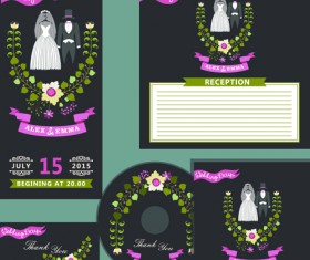 Elegant invitation card with CD cover vector 01