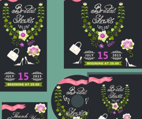 Elegant invitation card with CD cover vector 02