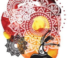 Ethnic watercolor with yoga vector background 02