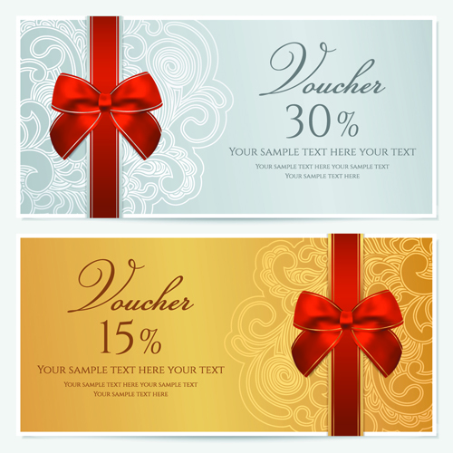 Exceptional Exquisite Vouchers Template Design Vector Set 01  Free Voucher Templates