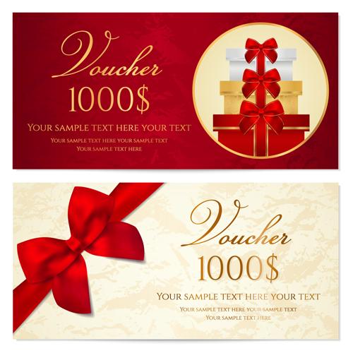 Exquisite vouchers template design vector set 07 Vector Card