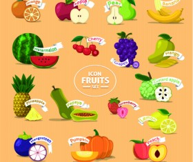 Fresh fruits creative icons vector