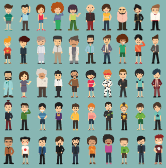 Funny business people character creative vector 03