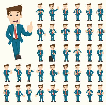 Funny business people character creative vector 04