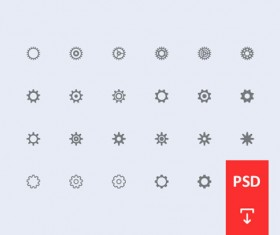 Gear setting icons psd