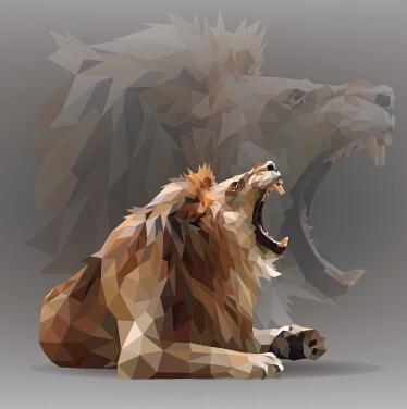 Geometric Shapes Wild Animals Creative Vector Set 01