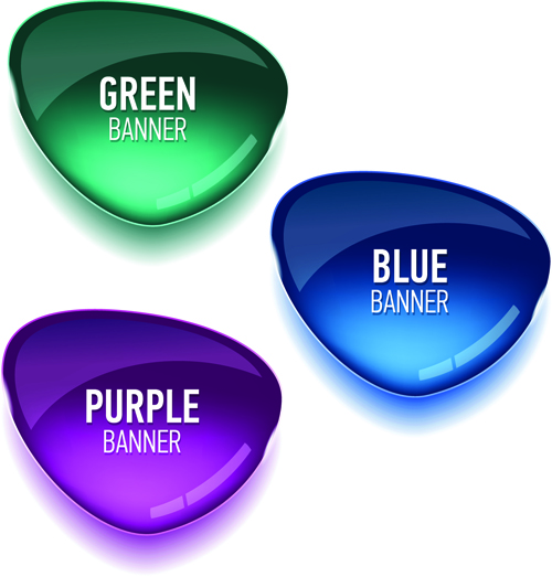Glass textured color banners graphic vector 01