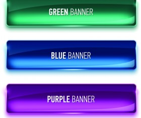 Glass textured color banners graphic vector 02