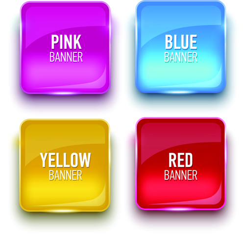 Glass textured color banners graphic vector 04