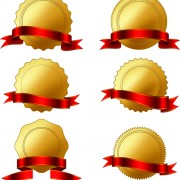 Link toGolden badge with red ribbon vector