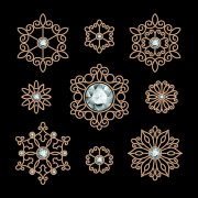 Link toGolden floral with jewels and black background vector 01