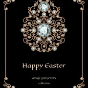 Golden floral with jewels and black background vector 04