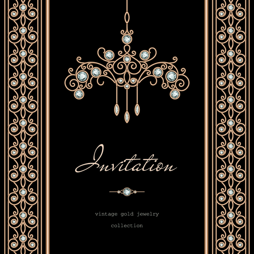 Golden Floral With Jewels And Black Background Vector 05