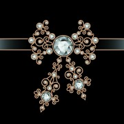 Link toGolden floral with jewels and black background vector 06