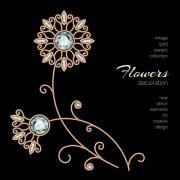 Golden floral with jewels and black background vector 07
