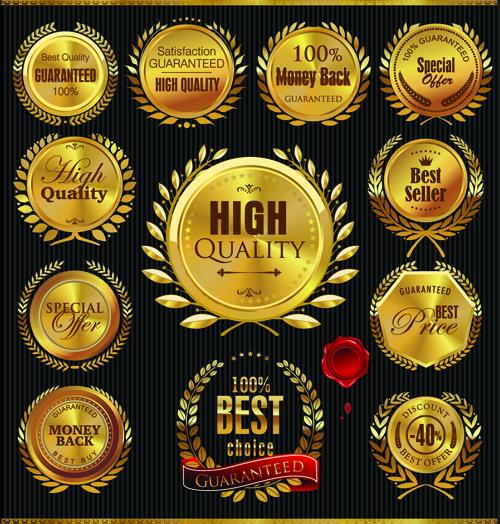 Golden Laurel Wreath Badges Vector 01 Vector Label Free
