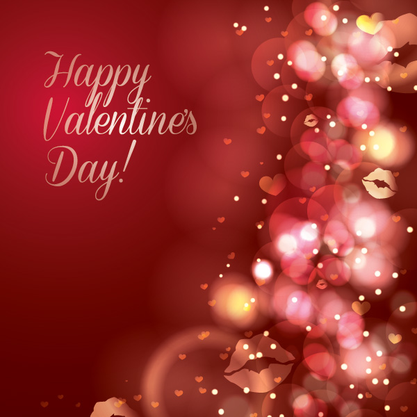Halation valentine day red background vector