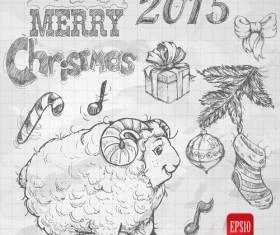 Hand drawn Christmas 2015 sheep year elements vector 03