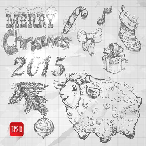 Hand drawn Christmas 2015 sheep year elements vector 04