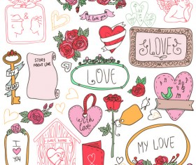 Hand drawn cartoon love elements vector 02