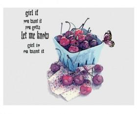 Hand drawn cherries and butterflies vector