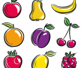 Hand drawn fruits graphics vector 01