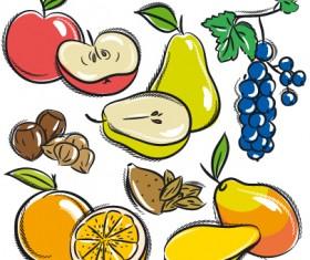 Hand drawn fruits graphics vector 05