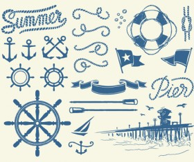 Hand drawn nautical elements vector material 01