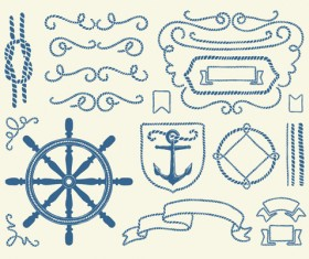 Hand drawn nautical elements vector material 02