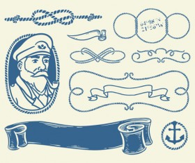Hand drawn nautical elements vector material 03