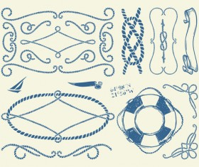 Hand drawn nautical elements vector material 04