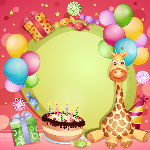 Happy Birthday Baby Cards Cute Design Vector 01
