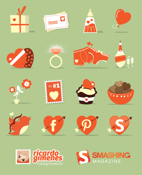 Love elements cartoon icons vector material