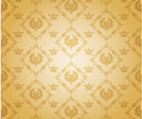 Luxury crown vector seamless pattern vector 02