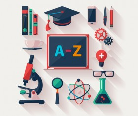 Modern education icons vector material 03