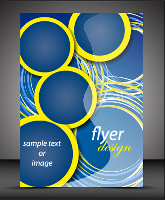 Modern style blue flyer cover vector 01 - Vector Cover free download