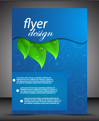 Modern style blue flyer cover vector 02 - Vector Cover free download