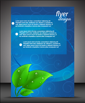 Modern style blue flyer cover vector 03 - Vector Cover free download